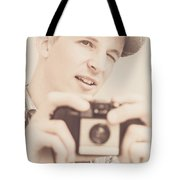 Old Fashion Male Freelance Photographer Tote Bag