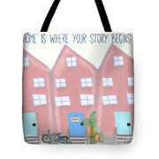 Old Fashioned Bikes And Home Is Where Your Story Begins Wedding Gift Art Tote Bag