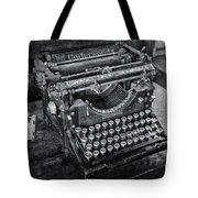 Old Fashioned Underwood Typewriter Bw Tote Bag
