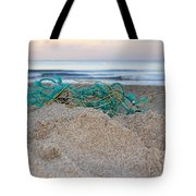 Old Fishing Net On Beach Tote Bag