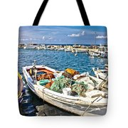 Old Fishing Wooden Boat With Nets Tote Bag