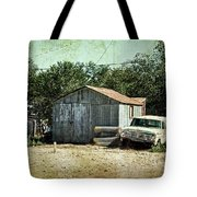 Old Garage And Car In Seligman Tote Bag