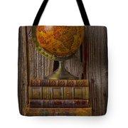 Old Globe On Old Books Tote Bag