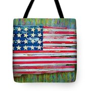 Old Glory In Wood Impression Tote Bag