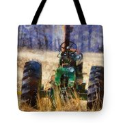 Old Green Tractor On The Farm Tote Bag