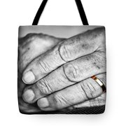 Old Hands With Wedding Band Tote Bag