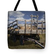 Old Hay Wagon In The Prairie Grass Tote Bag