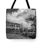 Old House And Cows - Bw Tote Bag by Fabio Giannini