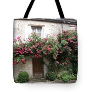 Old House Covered With Roses Tote Bag