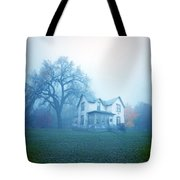 Old House In Fog Tote Bag