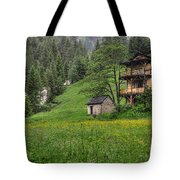 Old House On The Green Field Tote Bag