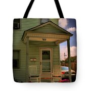 Old Houses - New Jersey - In The Oranges - Green House With Flower Pots And Rocking Chairs - Color Tote Bag