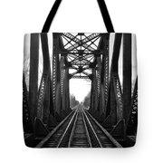 Old Huron River Rxr Bridge Black And White  Tote Bag