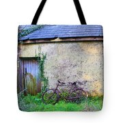Old Irish Cottage With Bike By The Door Tote Bag