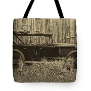 Old Jalopy Behind The Barn Tote Bag