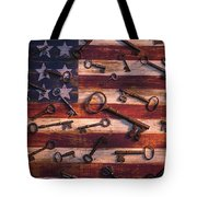 Old Keys On American Flag Tote Bag
