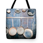 Old Kitchen Utensils On Soot-black Wall Tote Bag