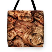 Old Leather Tote Bag by Bill Wakeley