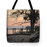 Old Lighthouse In Sunset Tote Bag