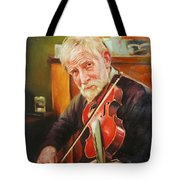 Old Man And Fiddle Tote Bag