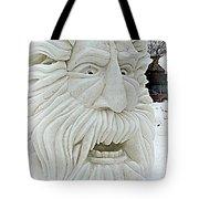 Old Man Winter Snow Sculpture Tote Bag