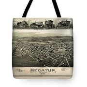 Old Map Of Decatur Texas 1890 Tote Bag
