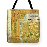 Old Map Of New York Central Railroad Manhattan Map 1918 Tote Bag