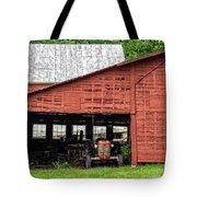 Old Massey Ferguson Red Tractor In Barn Tote Bag