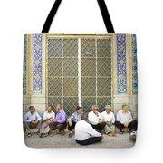 Old Men Socializing In Yazd Iran Tote Bag