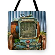 Old Metal Wheeled Tractor Hdr Tote Bag