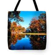 Old Mill House Pond In Autumn Fine Art Photograph Print With Vibrant Fall Colors Tote Bag