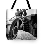 Old Mill Of Guilford Gears Black And White Tote Bag