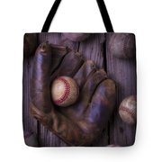Old Mitt And Worn Baseballs Tote Bag