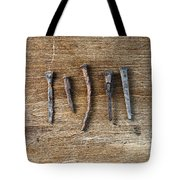 Old Nails On A Wooden Table Tote Bag