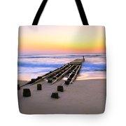 Old Ocean Pier At Dawn Tote Bag