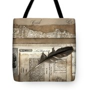 Old Papers And A Feather Tote Bag