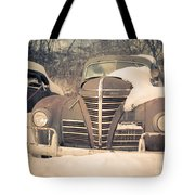 Old Plymouth Classic Car In The Snow Tote Bag