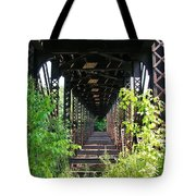 Old Railroad Car Bridge Tote Bag