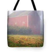 Old Red Barn In Fog Tote Bag by Edward Fielding