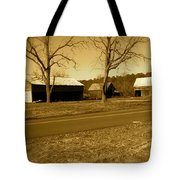Old Red Barn In Sepia Tote Bag