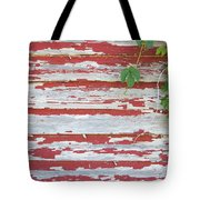 Old Red Barn With Peeling Paint And Vines Tote Bag