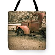 Old Red Farm Truck Tote Bag