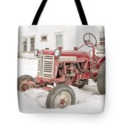 Old Red Tractor In The Snow Tote Bag
