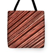 Old Red Wooden Wall In Sunlight Tote Bag