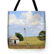 Old Rush County Farmhouse With Windmill Tote Bag