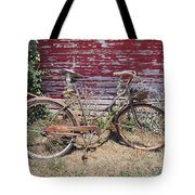 Old Rusty Bicycle With Basket Of Lavender Flowers Tote Bag