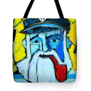 Old Sailor With Pipe Expressionist Portrait Tote Bag