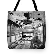 Old School Bus In Motion Bw Hdr Tote Bag