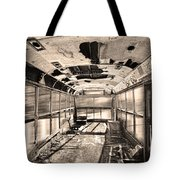 Old School Bus In Sepia Motion  Tote Bag