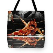 Old School Wrestling Headlock By Dean Ho On Don Muraco With Reflection Tote Bag